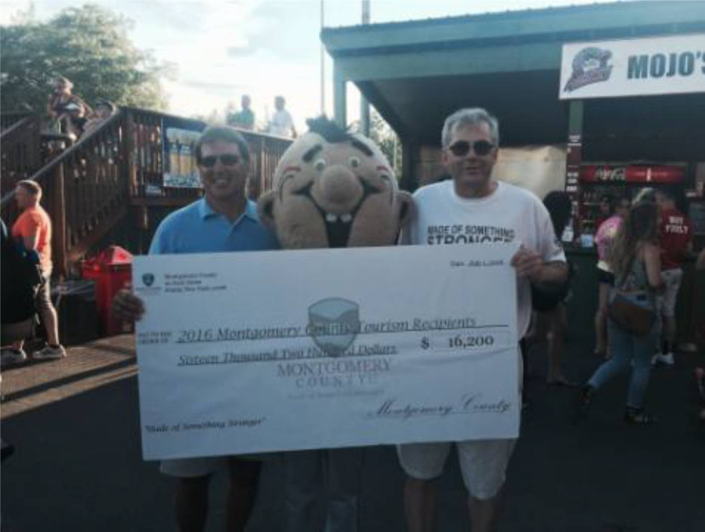 County Legislators Terry A. Bieniek (left) and Robert A. Purtell (right) pose with Mojo, the Amsterdam Mohawks mascot.