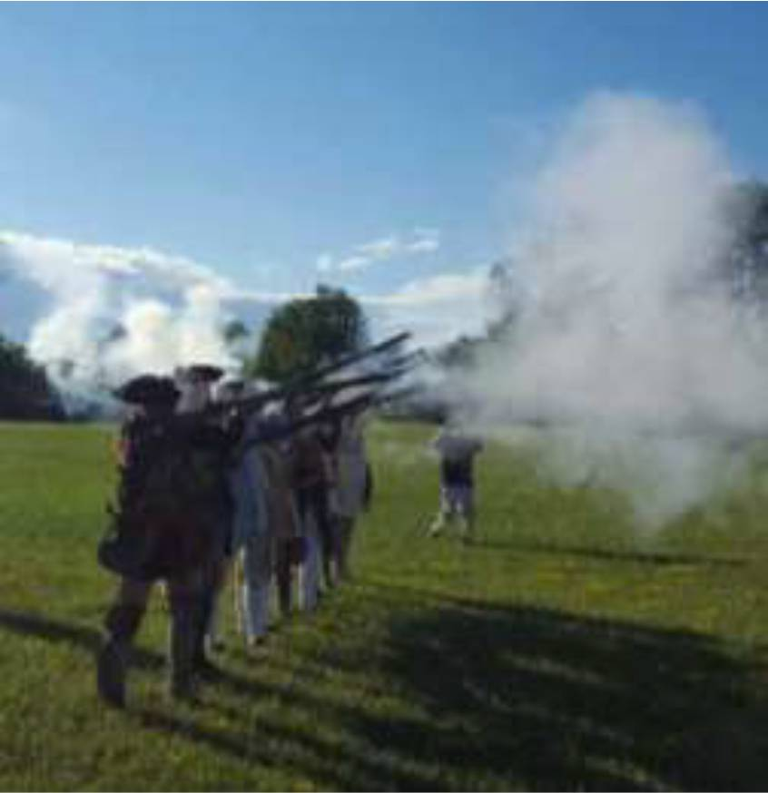 Members of the Tryon County Militia fire off a musket salute to those who made the ultimate sacrifice on that day.