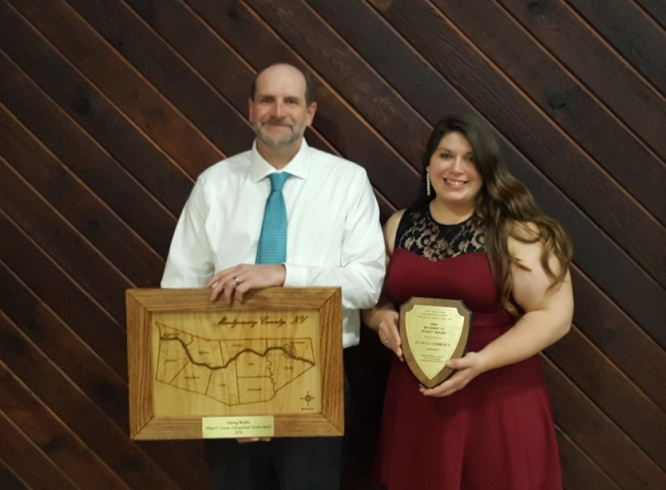 Montgomery County Soil and Water Conservation District Manager Corey Nellis and the District's Agricultural Economic Development Coordinator Julicia Godbout pictured with their awards.