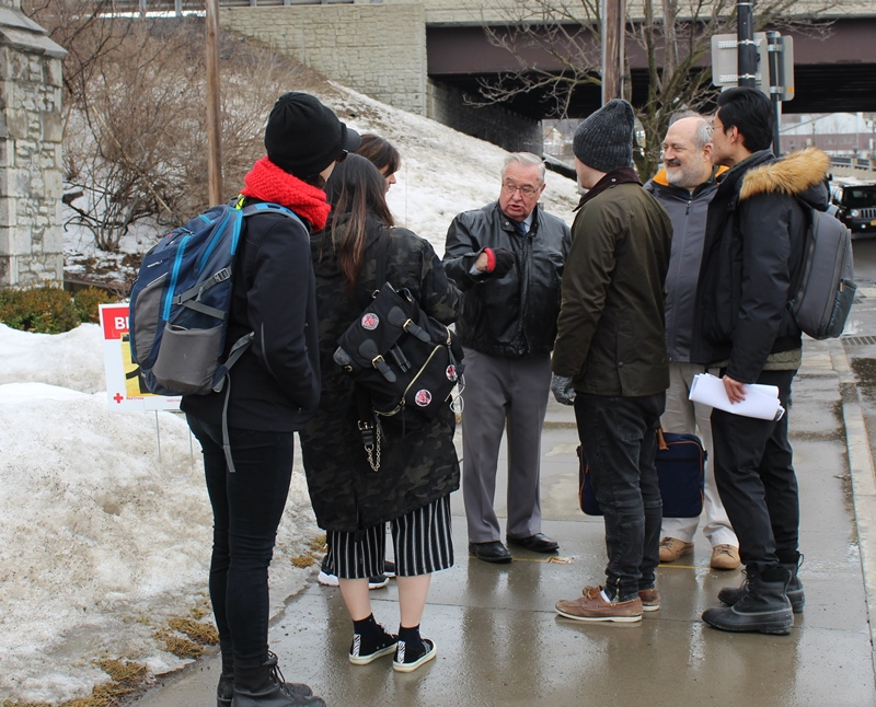 Village of Canajoharie Mayor Francis Avery pictured Feb. 7 giving a tour of downtown Canajoharie to Cornell University students.