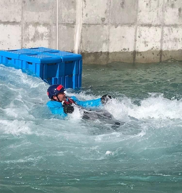 Swift Water Rescue Training - 1 person in rough water