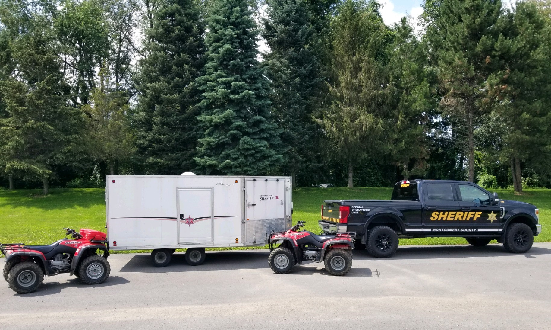 ATVs with truck and trailer