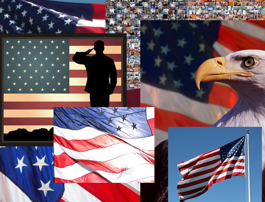 Patriotic collage of veterans, American flags, and an eagle