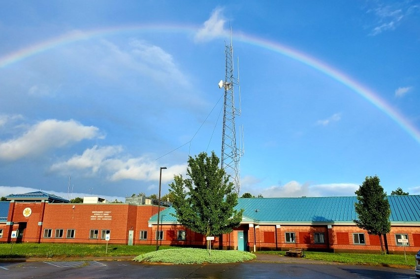 Sheriff's Office Building with Rainbow overhead